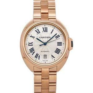 Cartier Silver 18K Rose Gold Cle De Cartier Wgcl0002 Men's Wristwatch 40 MM