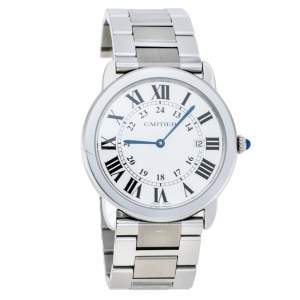 Cartier Silver Stainless Steel Ronde Solo 2934 Men's Wristwatch 36 mm