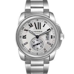 """ساعة يد رجالية كارتييه """"كاليبر دو كارتييه أوتوماتيك دبليو7100015"""" ستانلس ستيل فضية 42 مم"""