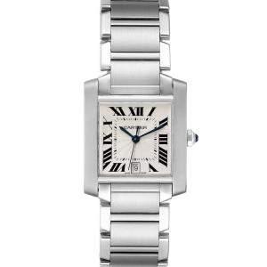 """ساعة يد رجالية كارتييه """"تانك فرانسايز أوتوماتيك دبليو51002كيو3"""" ستانلس ستيل فضية 28 x 32 مم"""