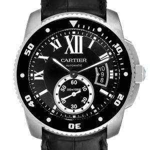 ساعة يد رجالية كارتييه كاليبر دايفر W7100056 ستانلس ستيل سوداء 42مم