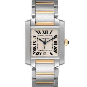 """ساعة يد رجالية كارتييه """"تانك فرانسيز دبليو51005كيو4"""" ستانلس ستيل و ذهب أصفر عيار 18 فضية 28 x 32 مم"""