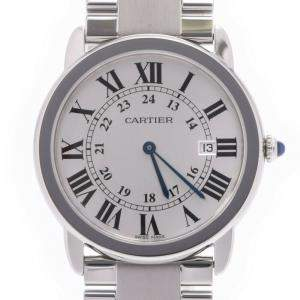 Cartier Silver Stainless Steel Ronde Solo W6701005 Men's Wristwatch 36 MM