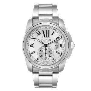 Cartier Silver Stainless Steel Calibre De Cartier Automatic W7100015 Men's Wristwatch 42 MM