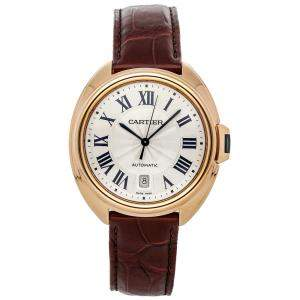 Cartier Silver 18K Rose Gold Cle De Cartier WGCL0004 Men's Wristwatch 40 MM