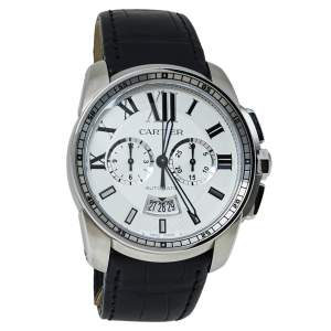 Cartier Silver Stainless Steel Calibre De Cartier 3578 Automatic Men's Wristwatch 42 MM