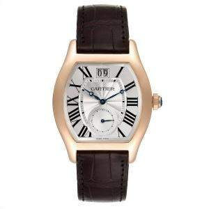 Cartier Silver 18K Rose Gold Tortue W1556234 Men's Wristwatch 48 x 38 MM