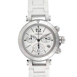 Cartier Silver Stainless Steel Pasha Seatimer Chronograph W3140005 Men's Wristwatch 37 MM