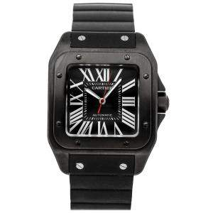 Cartier Black Carbon Coated Stainless Steel Santos 100 WSSA0006 Men's Wristwatch 51 x 41 MM
