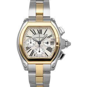 Cartier Silver 18K Yellow Gold And Stainless Steel Roadster XL Chronograph W62027Z1 Men's Wristwatch 43 x 48 MM