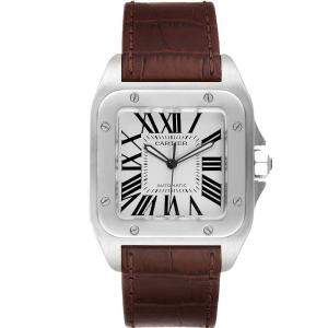Cartier Silver Stainless Steel Leather Santos 100 W20073X8 Mens Wristwatch 38MM