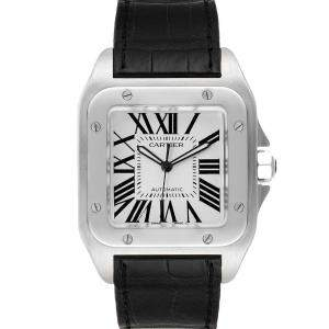 Cartier Silver Stainless Steel Santos 100 W20073X8 Mens Wristwatch 38MM
