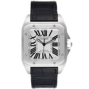 Cartier Silver Stainless Steel Santos 100 W20073X8 Men's Wristwatch 38MM