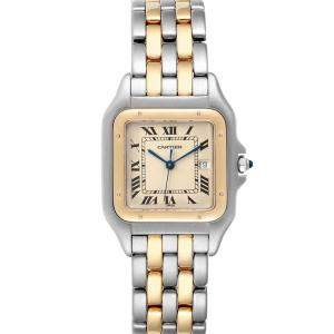 Cartier Silver Stainless Steel 18K Yellow Gold Panthere Jumbo 187957 Women's Wristwatch 29MM
