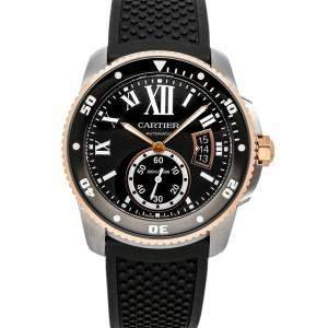 Cartier Black 18K Rose Gold And Stainless Steel Calibre De Cartier Diver W7100055 Men's Wristwatch 42 MM