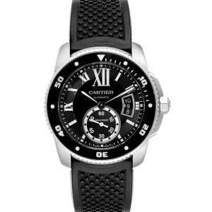 Cartier Black Stainless Steel Calibre Diver Rubber W7100056 Men's Wristwatch 42MM