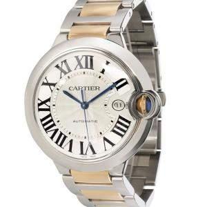 Cartier Silver 18K Yellow Gold And Stainless Steel Ballon Bleu W69009Z3 Men's Wristwatch 42 MM