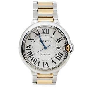 """ساعة يد رجالية كارتييه """"بالون بلو 3001"""" ستانلس ستيل و ذهب أصفر عيار 18 فضية 42 مم"""