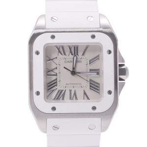 Cartier White Stainless Steel Santos 100 MM W20129U2 Automatic Men's Wristwatch 37 MM