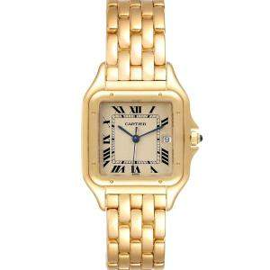 Cartier White 18K Yellow Gold Panthere W25014B9 Women's Wristwatch 29 MM