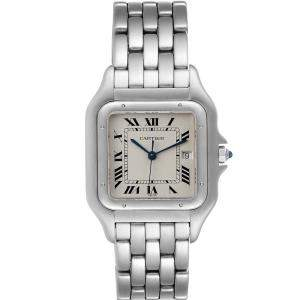 Cartier Silver Stainless Steel Panthere Stainless Steel W25032P5 Men's Wristwatch 29 MM