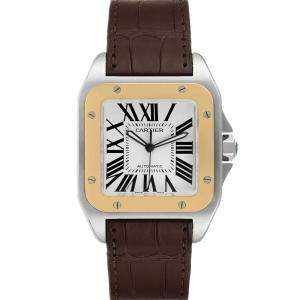 Cartier White 18K Yellow Gold And Stainless Steel Santos 100 W20072X7 Men's Wristwatch 38 MM