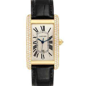 Cartier Silver Diamonds 18K Yellow Gold Tank Americaine WB702051 Men's Wristwatch 26 x 45 MM