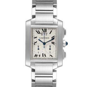 Cartier Silver Stainless Steel Tank Francaise Chrongraph W51024Q3 Men's Wristwatch 37 x 28 MM