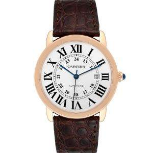 Cartier Silver 18K Rose Gold Ronde Solo XL W6701009 Men's Wristwatch 42 MM
