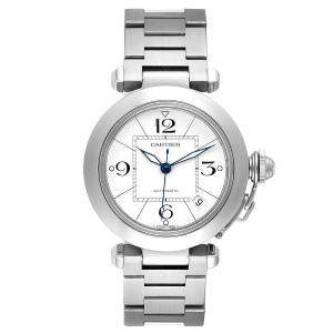 Cartier White Stainless Steel Pasha C W31074M7 Men's Wristwatch 35 MM