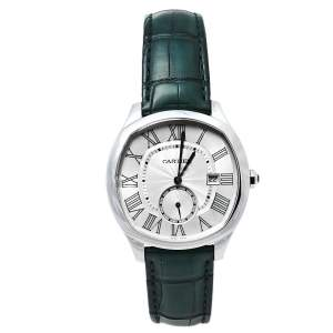 Cartier Silver Stainless Steel & Leather Drive De Cartier CRWSNM0010 Men's Wristwatch 41 mm