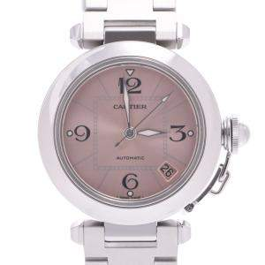 Cartier Pink Stainless Steel Pasha C Automatic W31075M7 Men's Wristwatch 35 MM