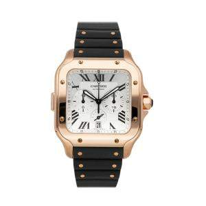 Cartier Silver 18k Rose Gold Santos De Cartier Chronograph WGSA0017 Men's Wristwatch 43 MM