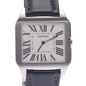 Cartier Ivory 18K White Gold Santos Dumont Men's Wristwatch