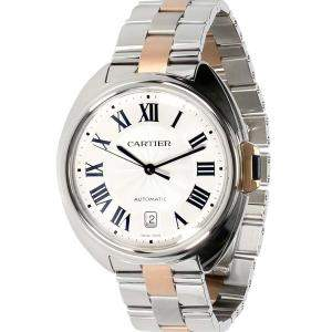 Cartier Silver 18K Rose Gold And Stainless Steel Cle de Cartier W2CL0002 Men's Wristwatch 40 MM
