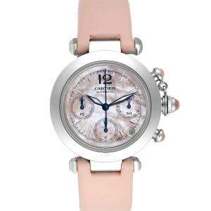Cartier Pink MOP Stainless Steel Pasha C Christmas Limited Edition W3106599 Men's Wristwatch 35 MM