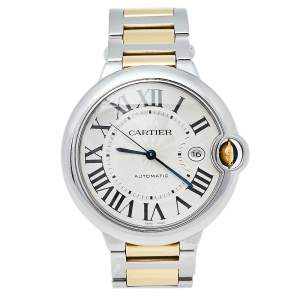 Cartier Silver 18K Yellow Gold And Stainless Steel Ballon Bleu 3001 Automatic Men's Wristwatch 42 mm
