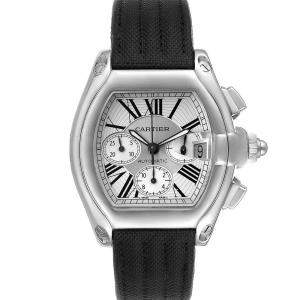 Cartier Silver Stainless Steel Roadster Chronograph W62019X6 Men's Wristwatch 49 x 43 MM