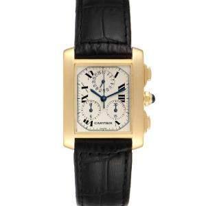 ساعة يد رجالية كارتييه تانك فرانسيس كرونوفلكس ذهب أصفر عيار 18 فضية 36 × 28 مم