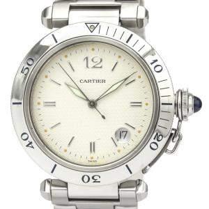 ساعة يد رجالية كارتييه باشا دو كارتييه دبليو31027أتش3 ستانلس ستيل فضية 38 مم