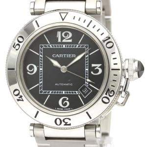 Cartier Black Stainless Steel Pasha Seatimer W31077M7 Automatic Men's Wristwatch 40 MM