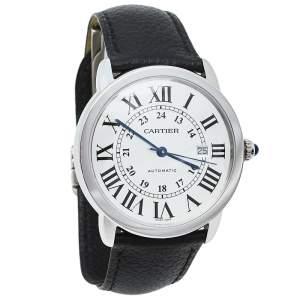 ساعة يد رجالية كارتييه روند سولو دو كارتييه 3802 جلد ستانلس ستيل فضية 42 مم