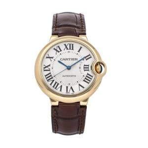Cartier Silver 18K Yellow Gold Ballon Bleu W6900356 Men's Wristwatch 36 MM