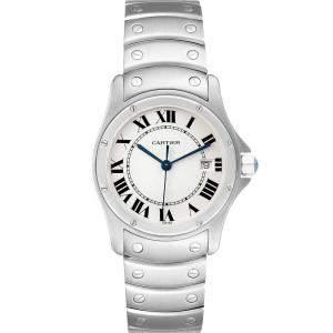 Cartier White Stainless Steel Santos Ronde W35002F5 Men's Wristwatch 33 MM