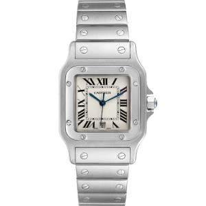 Cartier Silver Stainless Steel Santos Galbee W20060D6 Men's Wristwatch 29 x 29 MM