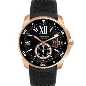 Cartier Black 18K Rose Gold Calibre Automatic W7100052 Men's Wristwatch 42 MM