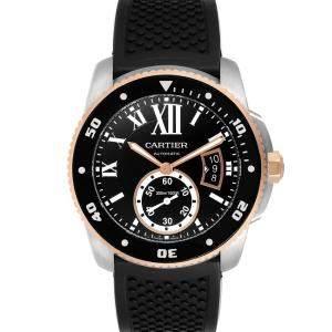 Cartier Black 18K Rose Gold Calibre Diver W7100055 Men's Wristwatch 42 MM
