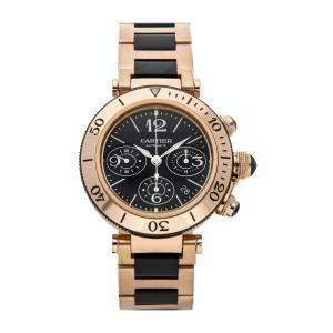 Cartier Black 18K Rose Gold Pasha Seatimer Chronograph W301980M Men's Wristwatch 42.5 MM