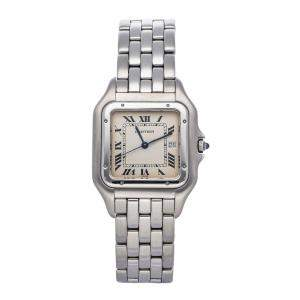 Cartier Silver Stainless Steel Panthere W25032P5 Men's Wristwatch 29 MM