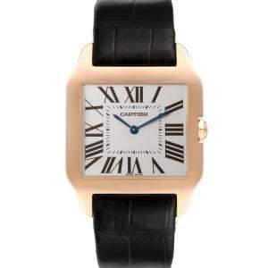 Cartier Silver 18k Rose Gold Santos Dumont W2006951 Men's Wristwatch 44.5 x 34 MM